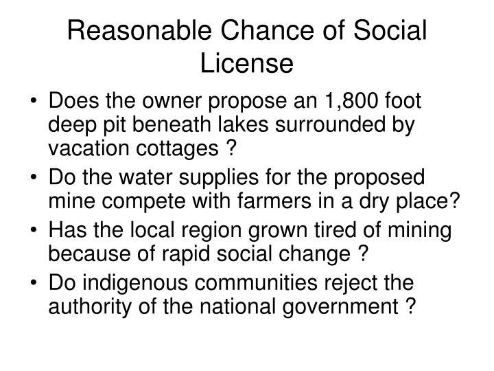 Reasonable Chance of Social License