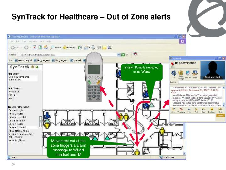 SynTrack for Healthcare – Out of Zone alerts
