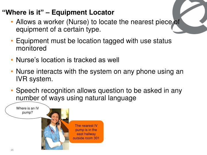 """Where is it"" – Equipment Locator"