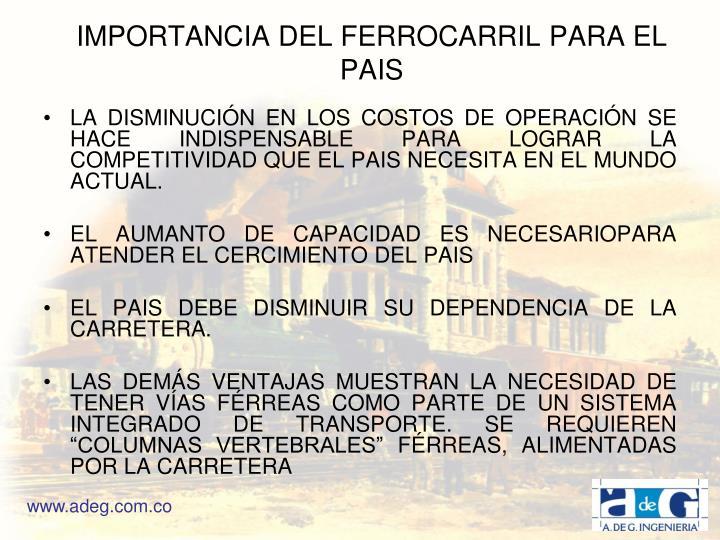 IMPORTANCIA DEL FERROCARRIL PARA EL PAIS