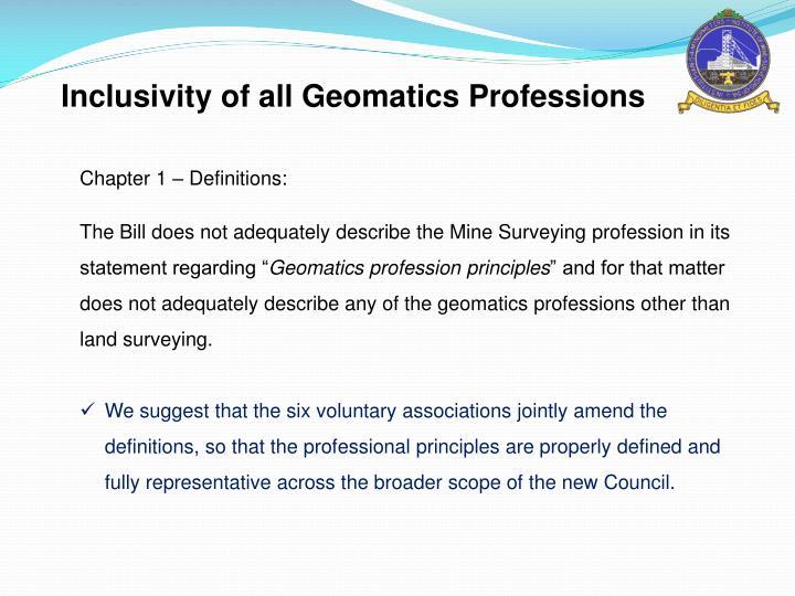 Inclusivity of all Geomatics Professions