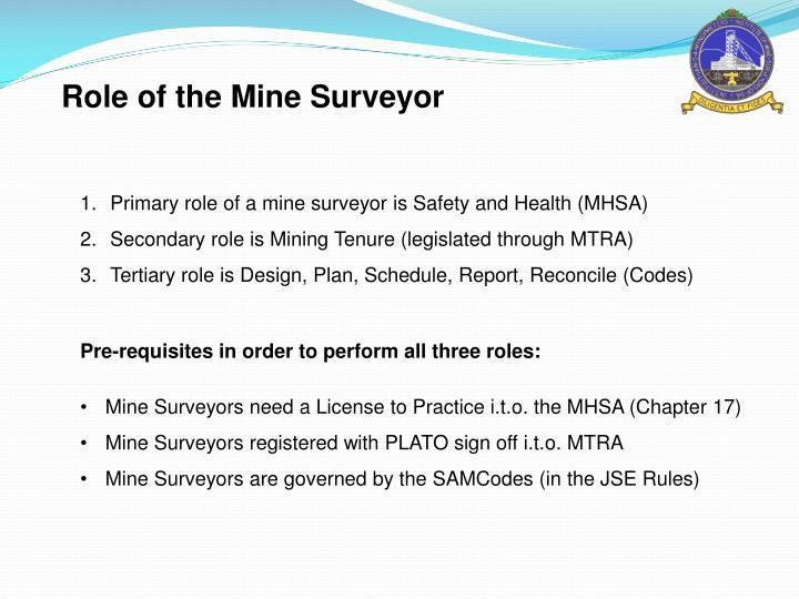 Role of the Mine Surveyor