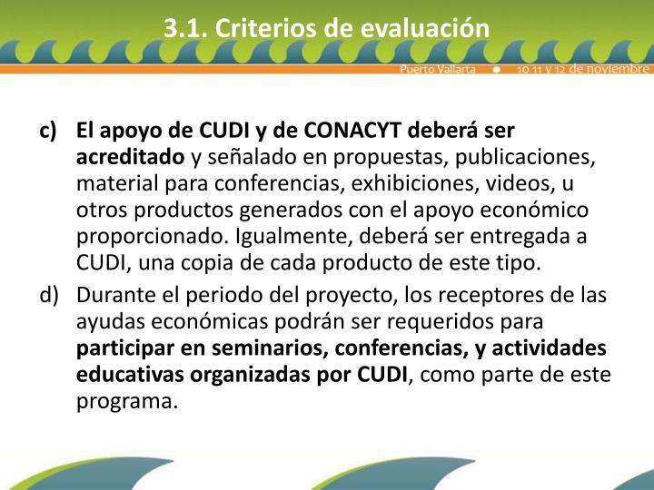 3.1. Criterios de evaluación