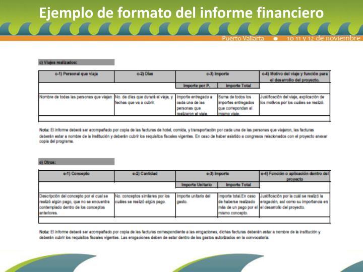 Ejemplo de formato del informe financiero