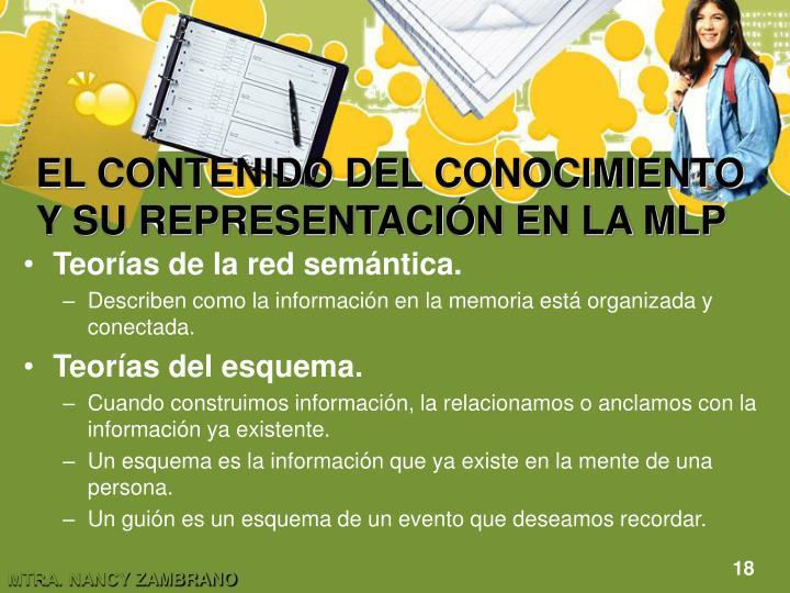 EL CONTENIDO DEL CONOCIMIENTO Y SU REPRESENTACIÓN EN LA MLP