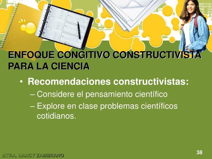 ENFOQUE CONGITIVO CONSTRUCTIVISTA PARA LA CIENCIA