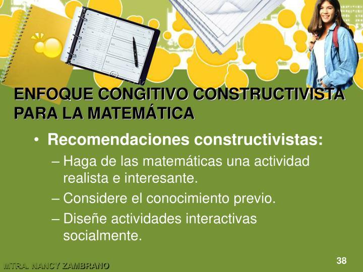 ENFOQUE CONGITIVO CONSTRUCTIVISTA PARA LA MATEMÁTICA