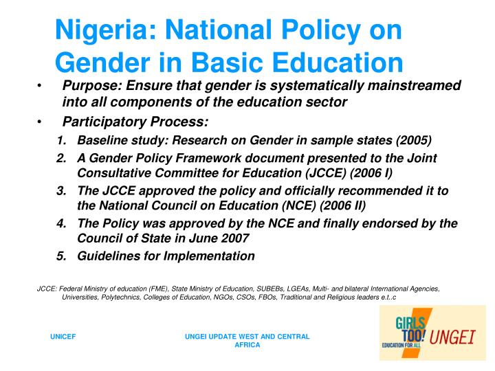 Nigeria: National Policy on Gender in Basic Education