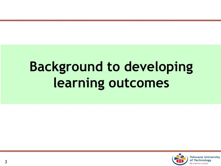 Background to developing learning outcomes