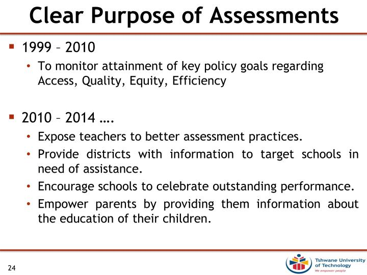 Clear Purpose of Assessments