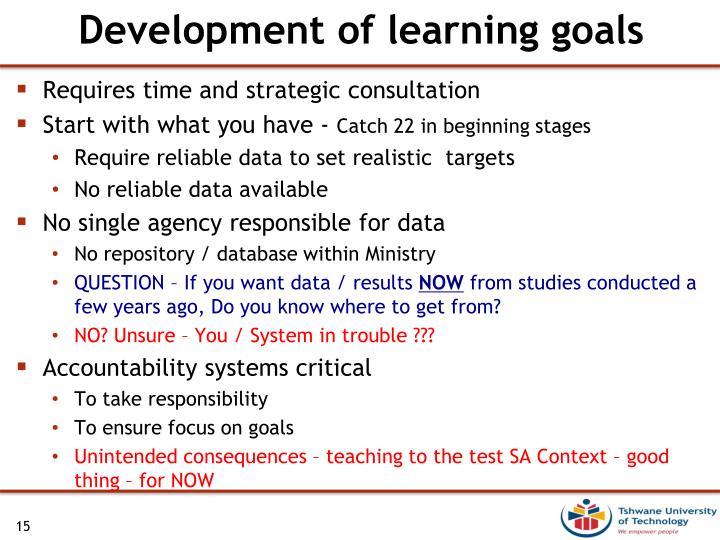 Development of learning goals