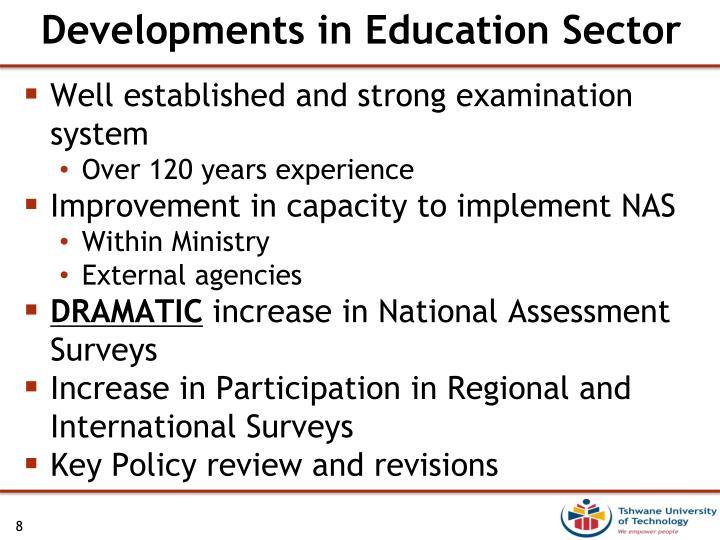 Developments in Education Sector