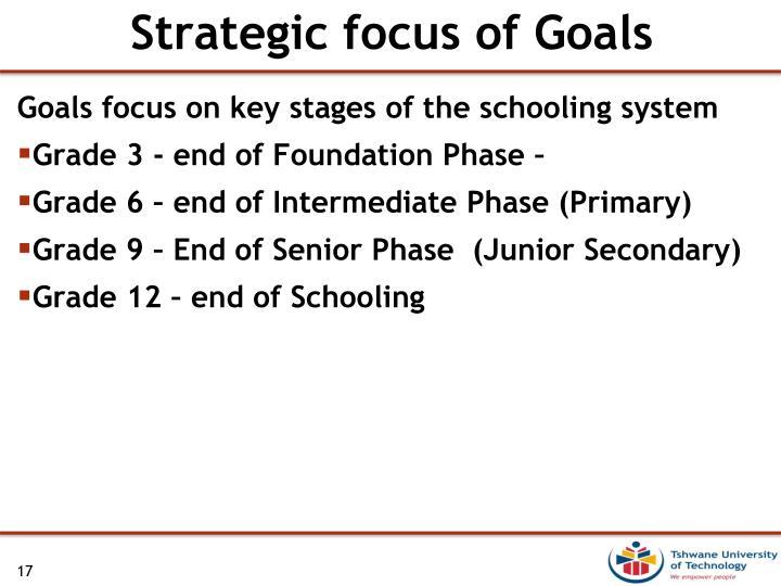 Strategic focus of Goals