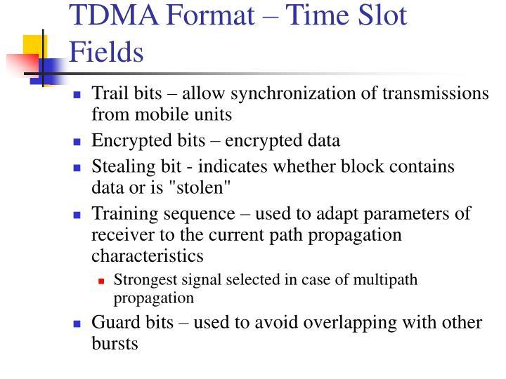 TDMA Format – Time Slot Fields
