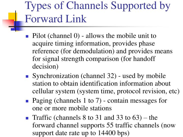 Types of Channels Supported by Forward Link