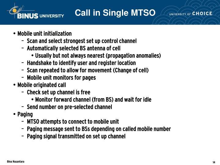 Call in Single MTSO
