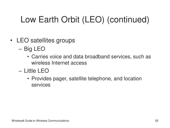 Low Earth Orbit (LEO) (continued)