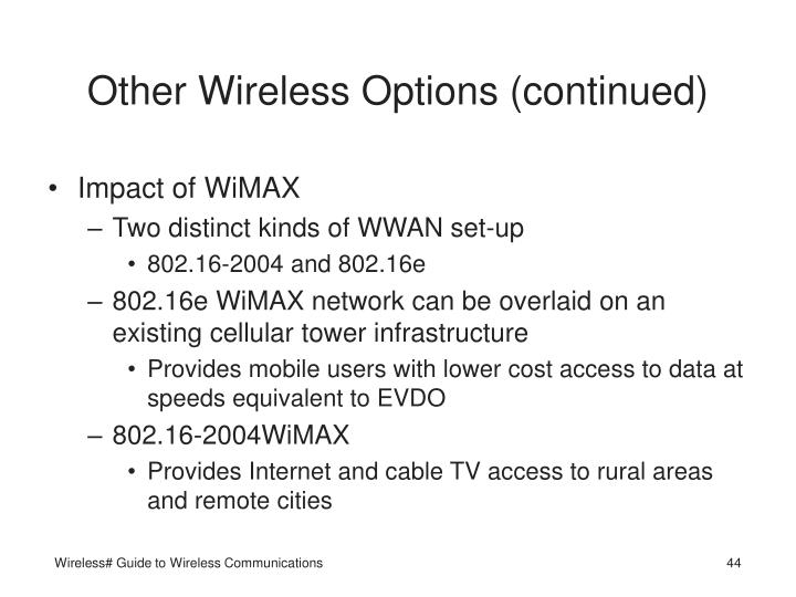 Other Wireless Options (continued)
