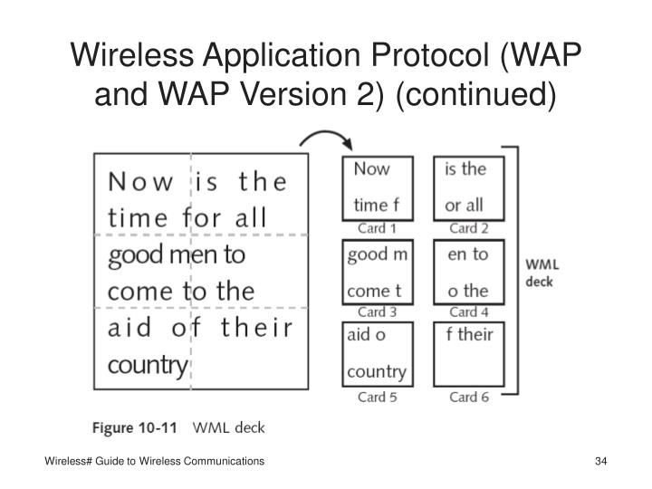 Wireless Application Protocol (WAP and WAP Version 2) (continued)