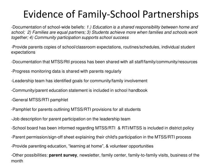 Evidence of Family-School Partnerships
