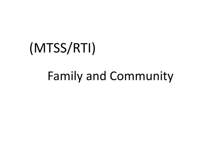 Family and community