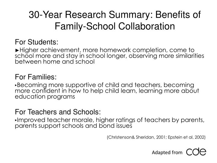 30-Year Research Summary: Benefits of Family-School Collaboration