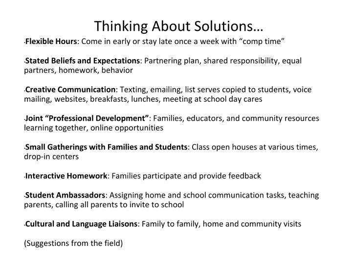 Thinking About Solutions…