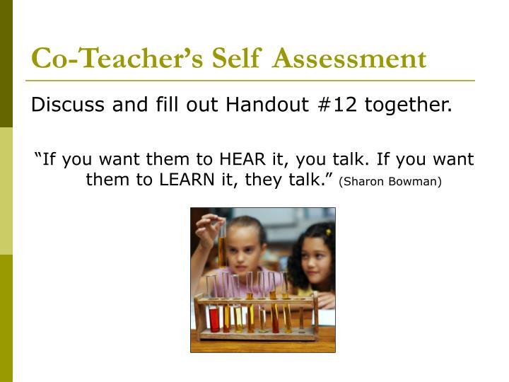 Co-Teacher's Self Assessment