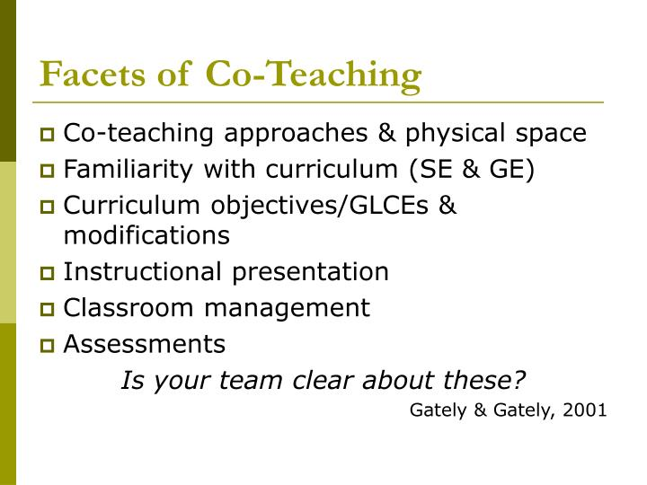Facets of Co-Teaching