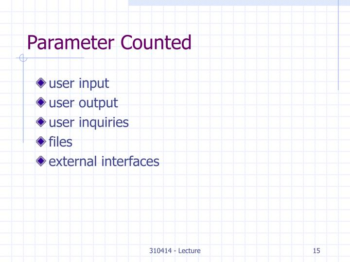 Parameter Counted