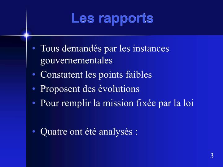 Les rapports1