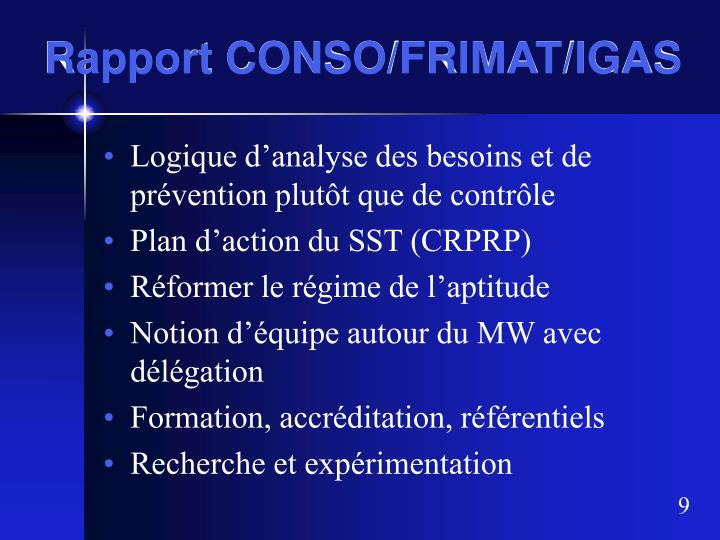 Rapport CONSO/FRIMAT/IGAS