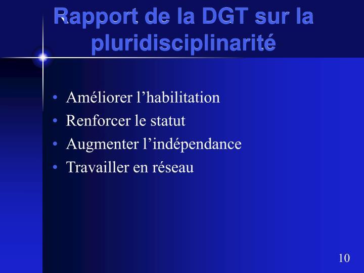 Rapport de la DGT sur la pluridisciplinarité