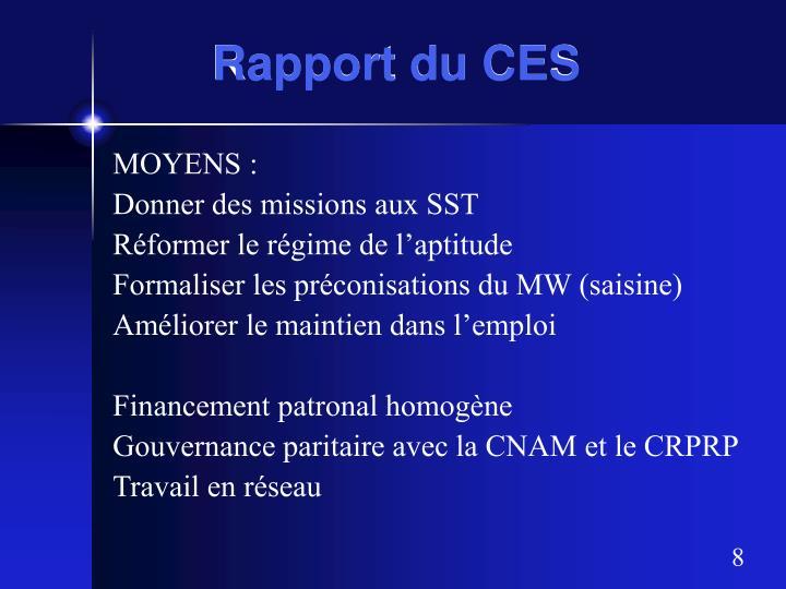 Rapport du CES