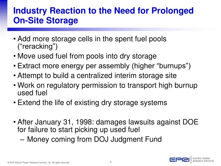 Industry Reaction to the Need for Prolonged On-Site Storage