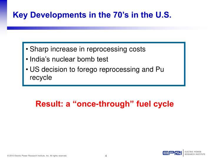 Key Developments in the 70's in the U.S.