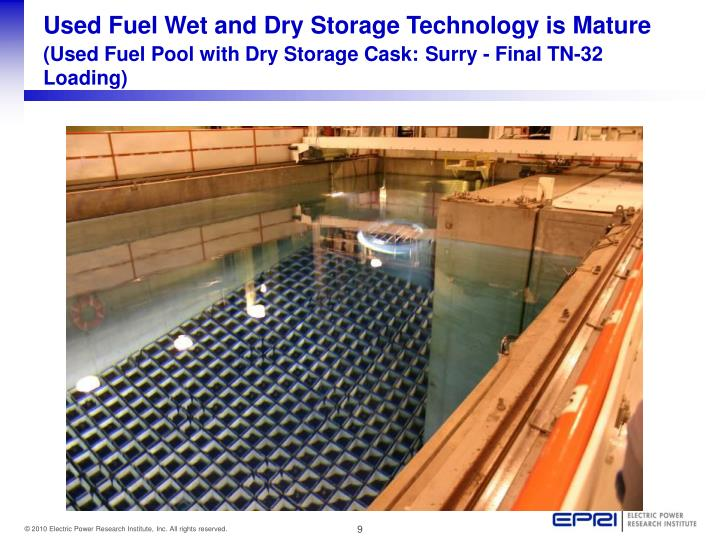 Used Fuel Wet and Dry Storage Technology is Mature