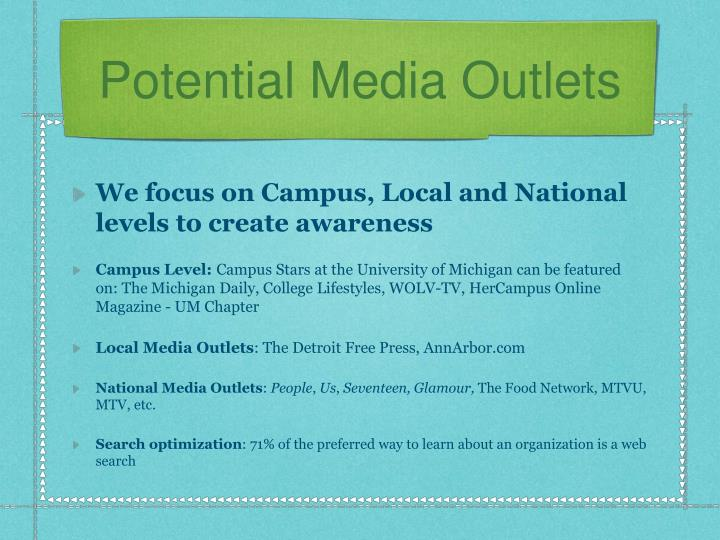 Potential Media Outlets