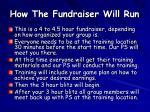 how the fundraiser will run