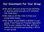 our investment for your group