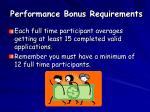 performance bonus requirements