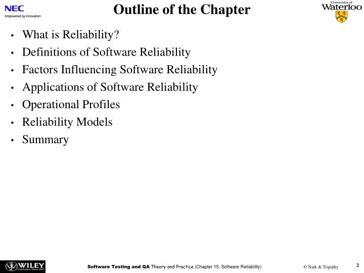 summary software reliability