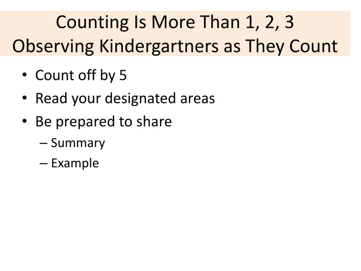 Counting Is More Than 1, 2, 3