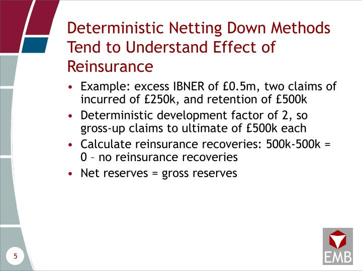 Deterministic Netting Down Methods Tend to Understand Effect of Reinsurance