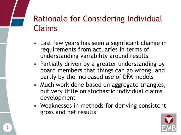 Rationale for considering individual claims