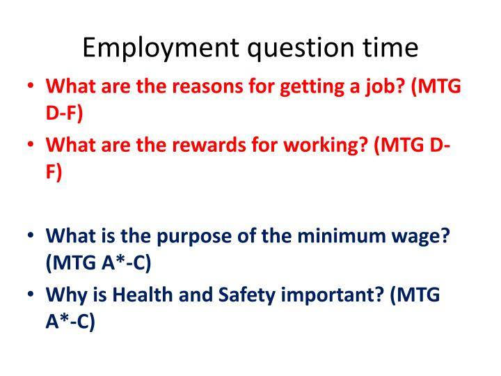Employment question time