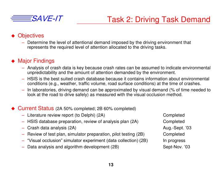 Task 2: Driving Task Demand