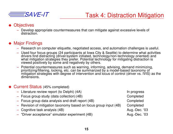 Task 4: Distraction Mitigation