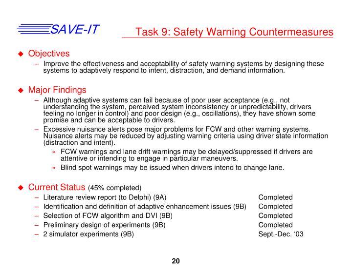 Task 9: Safety Warning Countermeasures