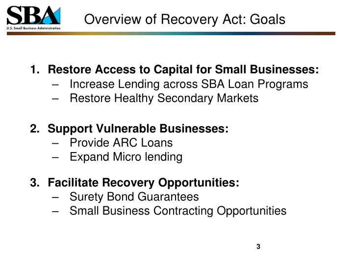 Overview of recovery act goals